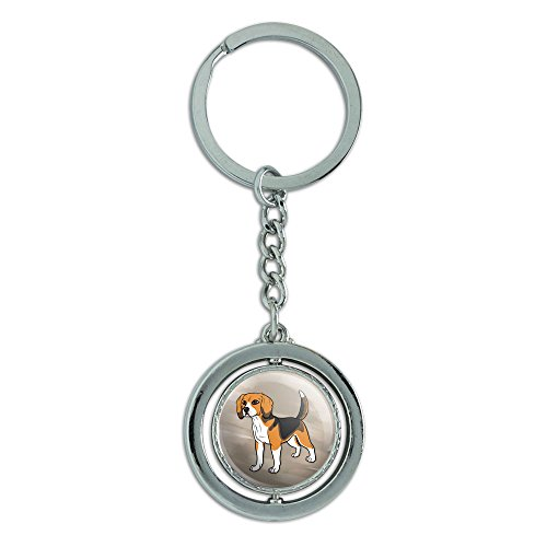 Beagle Pet Dog Spinning Round Metal Key Chain Keychain Ring ()