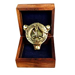 3 Sundial Compass - Brass with Wood Box