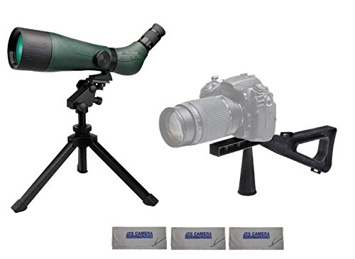 Konus 7120B KonuSpot-80 20-60x80 Zoom Spotting Scope Bundle with Stedi-Stock Shoulder Brace and 3 Cleaning Cloths by Konus