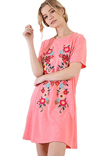 Umgee Boho Beach Please! Embroidered French Terry Cover up by Day Dress by Night (Coral, ()