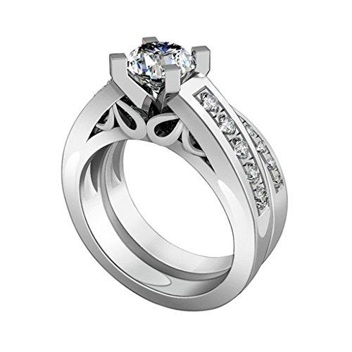 Sterling Silver Enhancer Mounting (Epinki Women Ring, Sterling Silver Ring Promise Ring 4-Prong Set Cubic Zirconia Double Ring Set Size 5)