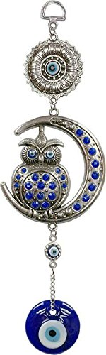 rnament Wind Chime Evil Eye Ward Off Negativity Wise Owl Indoor Outdoor ()