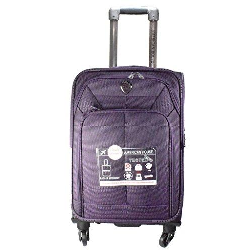 American House Nylon 28 Inch 4 Wheel Trolley Bag  Purple