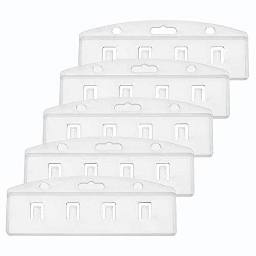 Half Card Holder - Pawfly 5 Pack Horizontal Half Card Badge Holder for Swipe ID Cards, Frosted Rigid Polycarbonate Plastic