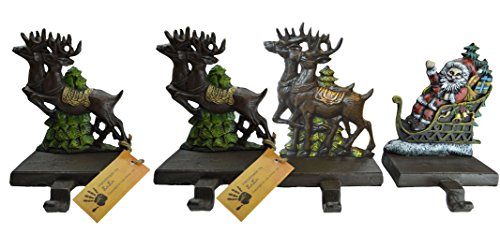 Lulu Decor, Cast Iron Santa Claus & 3 Reindeer Stocking Holders, Solid, Beautiful, Available in Holiday Colors, Measures 7.75''x5.5'', Set of 4, Perfect for holiday gifts/Christmas gifts(4 Hooks) by LuLu