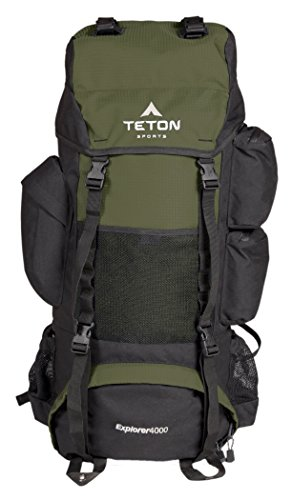 TETON Sports Explorer 4000 Internal Frame Backpack; High-Performance Backpack for Backpacking, Hiking, Camping; Hunter Green (Best Hiking Backpack Under 100)