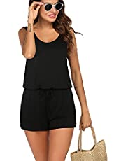 Avidlove Women's Summer Solid Jumpsuit Loose Short Sleeve Jumpsuit Rompers with Pockets