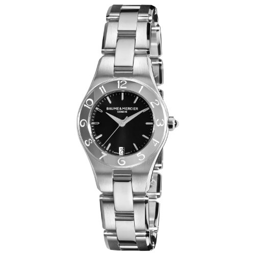 baume-mercier-womens-10010-linea-black-dial-stainless-steel-watch