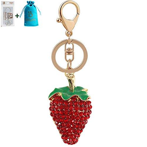 Bolbove Strawberry Keychain Sparkling Keyring Crystal Rhinestones Purse Pendant Handbag Charm (Red)