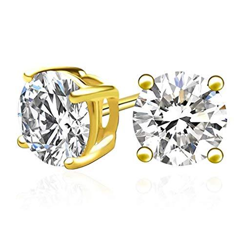 (1 pair Gold Plated Sterling Silver 2 Carat Simulated Diamond Earring Studs 8mm Earrings w/Earnuts Women Girls Gift SSE83)