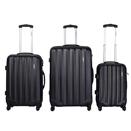 Giantex Globalway Luggage Travel Set Bag ABS Hardshell Trolley Suitcase W/tsa Lock (Black) by Globalway