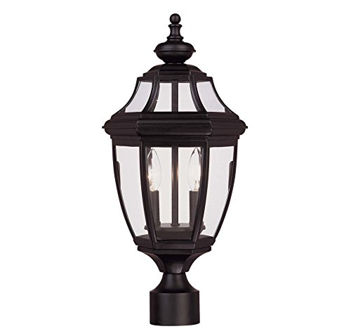 5 Light Outdoor Post Mount (Savoy House Lighting 5-497-BK Endorado Collection 2-Light Outdoor Post Mount Lantern, Black Finish with Clear Glass)