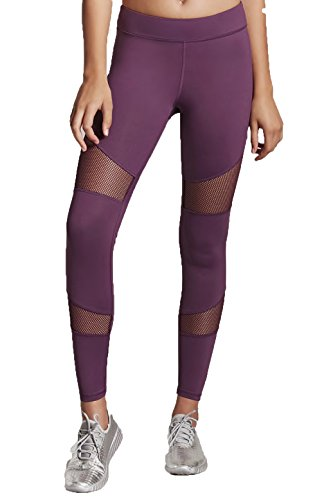Forever 21 Medium Eggplant Purple Fishnet Cutout Workout Yoga Leggings