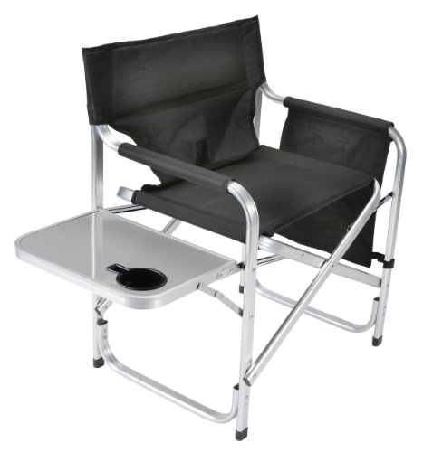 Faulkner Aluminum Director Chair with Folding Tray and Cup Holder, Black by Faulkner