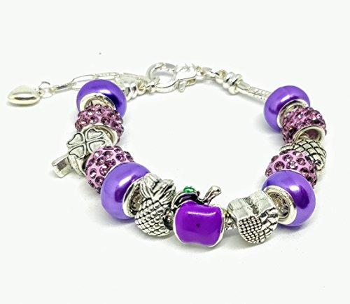 Purple Apple Fruits Luck Charm Beads European Style Bracelet Lilac ()