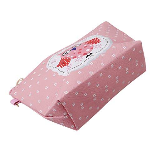 HENGSONG Tragbare Eule Kosmetik Tasche Make Up Beutel PU Leder Reißverschluss Klein Geldbeutel Toilettenartikel Organizer Reise Make-up Clutch Bag (Hellrosa)