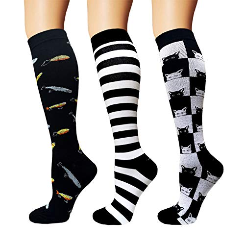 3/5 Pairs Compression Socks Women & Men – Best Medical,Nursing,Hiking,Travel & Flight Socks-Running & Fitness (B – Color 32, L/XL)