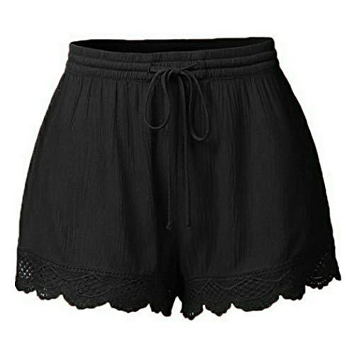 BODOAO Women Plus Size Rope Tie Shorts Yoga Sport Pants Leggings Trousers