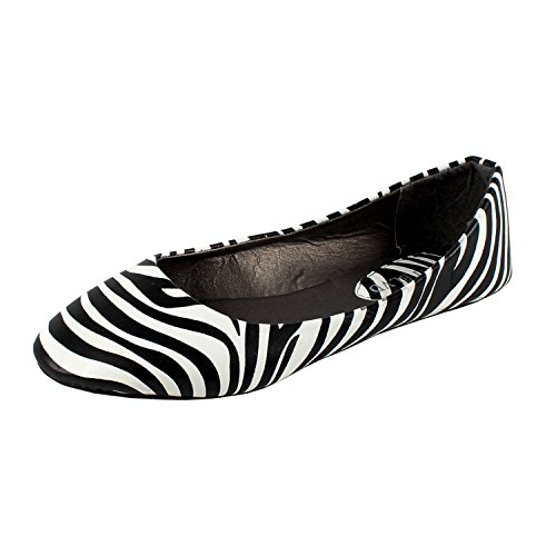 West Blvd Womens Ballet Flats Slip On Shoes Ballerina Slippers, Zebra Pu, US 9