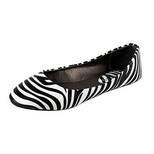 West Blvd Womens Ballet Flats Slip On Shoes Ballerina Slippers, Zebra Pu, US 10