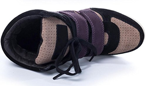 Hoge Schoenen Met Verborgen Hiel Sneakers, Wiggen Leren Casual Pumps Schoenen 6 Kleuren Maat 5.5-7.5 Kaki