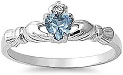 Polished Sterling Silver Claddagh Love Heart Ring with Blue Light Blue CZ