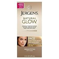 Jergens Natural Glow, tez, crema hidratante facial diaria para SPF medio a tostado, 2 onzas