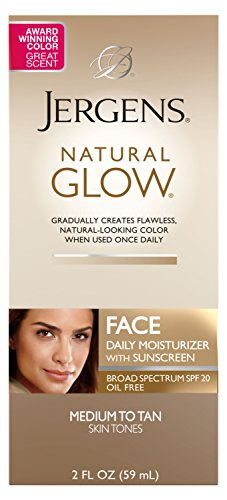 (Jergens Natural Glow Healthy Complexion Daily Facial Moisturizer for Medium to Tan SPF, 2 Ounce )