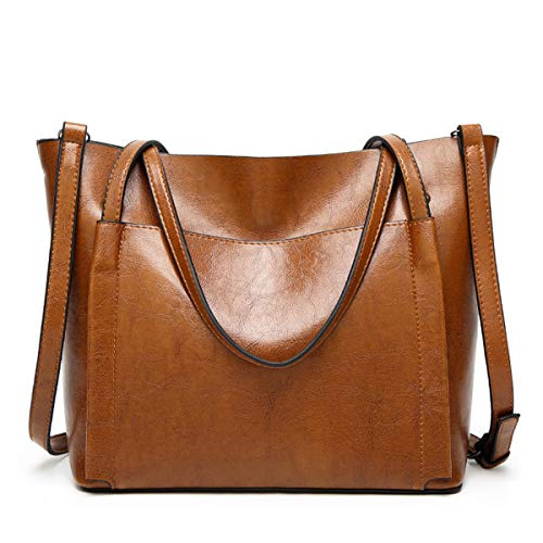 QIN LX Lady Leather Shopping Messenger Purse Top Handle Handbags Women's Shoulder Tote Satchel Bag (brown) by QIN LX (Image #7)