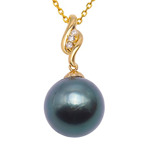 JYX Pearl 18K Gold Tahiti Pendant AAA Quality 11.5mm Peacock Green Tahitian Cultured Pearl Pendant Necklace Dotted with Diamonds