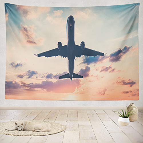 - ASOCO Tapestry Wall Handing Airplane Sunset Sky Jet Scenic Sky Scenic Jet Airplane Pink Plane Air Wall Tapestry for Bedroom Living Room Tablecloth Dorm 60X80 Inches