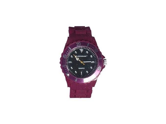 Dunlop - Trendy Mujer Reloj - Lila Pulsera de Silicona - Bombilla de mordida Moderno Reloj: Amazon.es: Relojes
