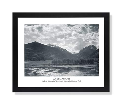 Ansel Adams Lake Mountain B/W Photo Landscape Picture Black Framed Art Print