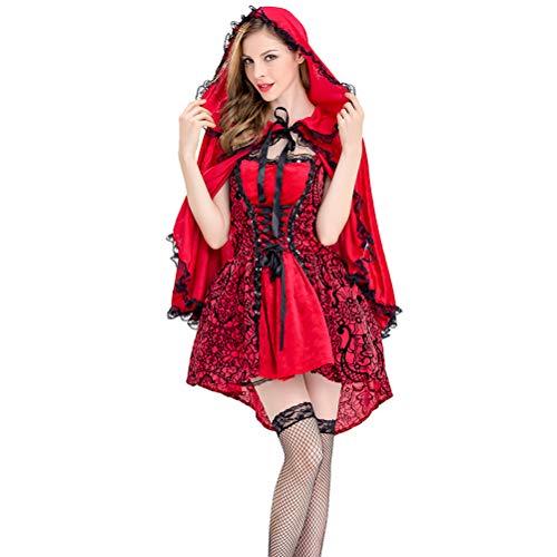 Zhhyltt Halloween Fancy Dress Adult Women's Dress - Red Riding Hood Costume Ladies