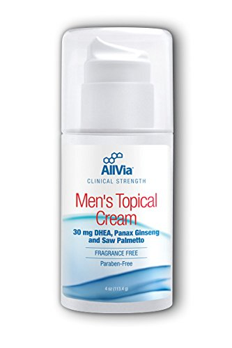 AllVia Men's Topical Cream - 30 mg DHEA, Panax Ginseng, and Saw Palmetto, Clinical Strength, Fragrance Free, Paraben Free - 4 Ounces