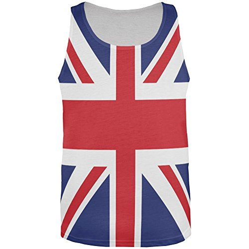 British Flag Union Jack All Over Mens Tank Top Multi X-LG