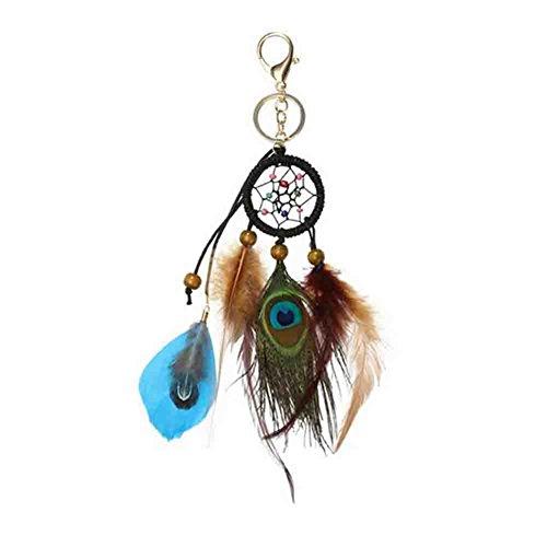 BAOBAO Colorful Dream Catcher Feather Tassel Beaded Pendant Keychain Car Bag (Beaded Keychain Designs)