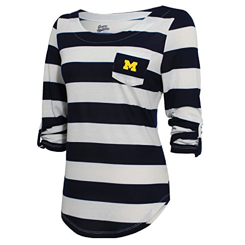 NCAA Michigan Wolverines Women's Campus Specialties Striped 3/4 Sleeve Tee, Navy/White, Large ()