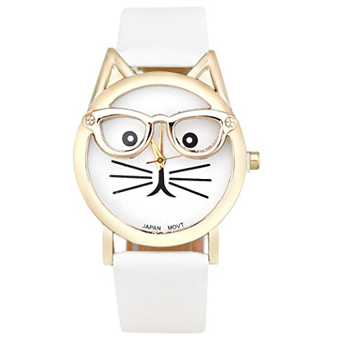 DaySeventh Cute Glasses Cat Women Analog Quartz Dial Wrist Watch - Sunglasses West Italy