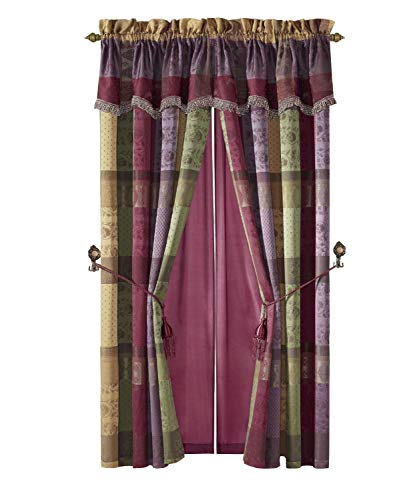 - Chezmoi Collection Gitano Jacquard Patchwork 4-Piece Window Curtain/Drape Set with Sheer Backing, Multi Color
