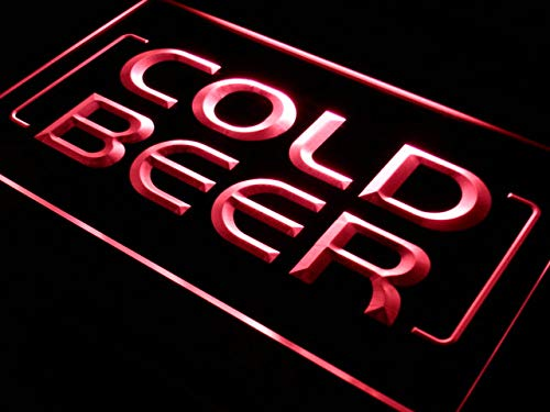 ADVPRO Cartel Luminoso i348-r Cold Beer Bar Pub Club Open ...