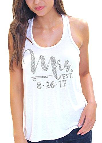 (Foxy Mrs. EST With Custom Wedding Date Rhinestone Flowy Tank Medium White)