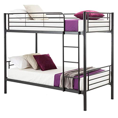 Mecor Metal Bunk Bed Twin Over Twin - Easy Assembly - with Removable Ladder - for Children/Teens/Adults - Black