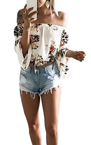 Button Cuff Floral Blouse - FELACIA Women's Fashion Off Shoulder Tops Sexy Floral Print Crop Tops