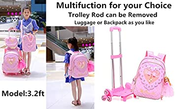 Girls Rolling Backpack Kids Backpacks for Girls for School Wheeled Trolley Travel Trip Luggage with Lunch Box