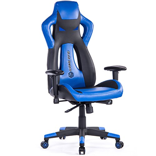 SimLife Executive Gaming Racing Swivel Chair, High Back with Lumbar Support & Headrest, Perfect for Office Home or Gaming, Blue PU Leather For Sale