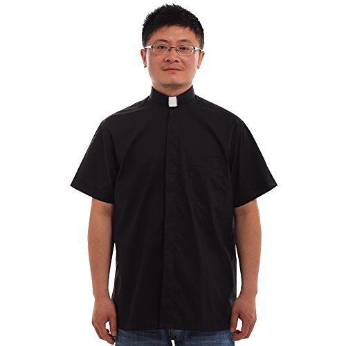 BLESSUME Black Church Pastor Shirt with Clerical Collar Short Sleeve (Priest Collar Costume)