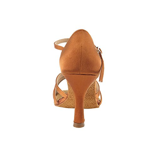 Salsa Dance Swing Comfort Heel Party Latin Women Gold Tango Salsa Pigeon Ballroom SERA7012 Pump Shoes Shoes Evening Tango Wedding Swing 1683 Latin Medium Satin Shoes Tan High Dress Party Dark T1wBxOwnq