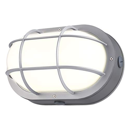 - LEONLITE LED Bulkhead Light, 20W (120W Equivalent), Energy Star & ETL Listed, 64 LED Chips, Wet Locations, 3000K Warm White Glow, Silver Finish Outdoor Wall Light, 5 Years Warranty