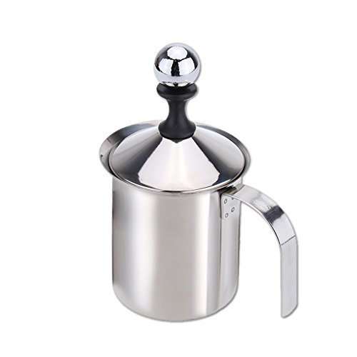 Anself 400ml Stainless Steel Milk Frother Double Mesh Milk Foamer DIY Fancy White Coffe Creamer for Cappuccino Latte by Anself